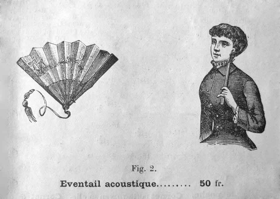 Ingenious 19th C ear-trumpet disguised in a fan. antiquescientifica.com/