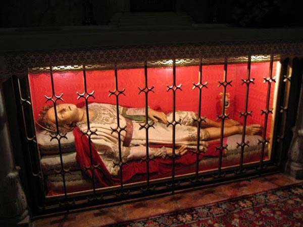 The purportedly incorrupt body of St. Silvan in the church of St. Blaize, in Dubrovnik, Croatia.