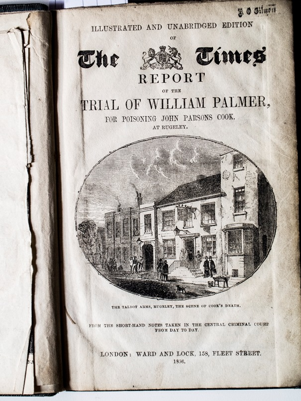 The frontispiece of the book showing the book's title, an engraving of showing the pub where John Parsons Cook died, and a stamp in the top right-hand corner which says R O Gilmore.