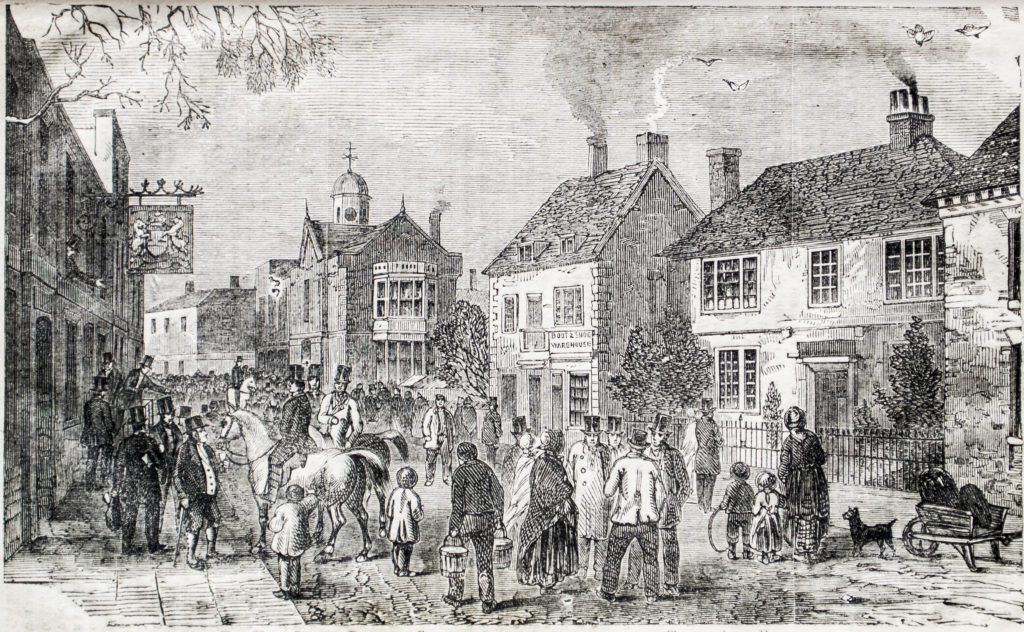 An engraving showing a bustling mid-19th century street scene.