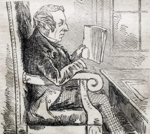 A woodcut of a Victorian man in a chair reading.