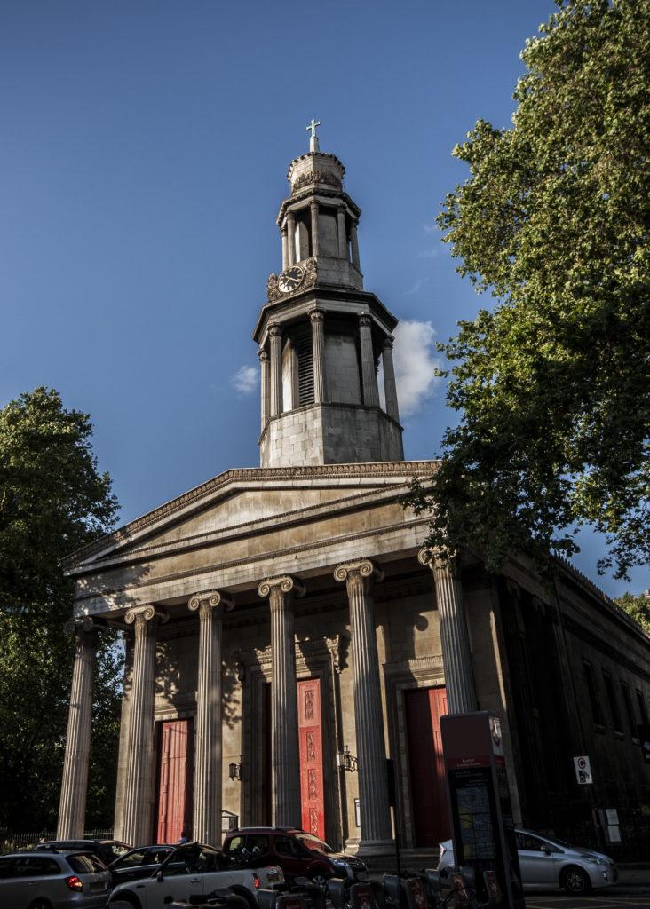 The front doors of St Pancras church.