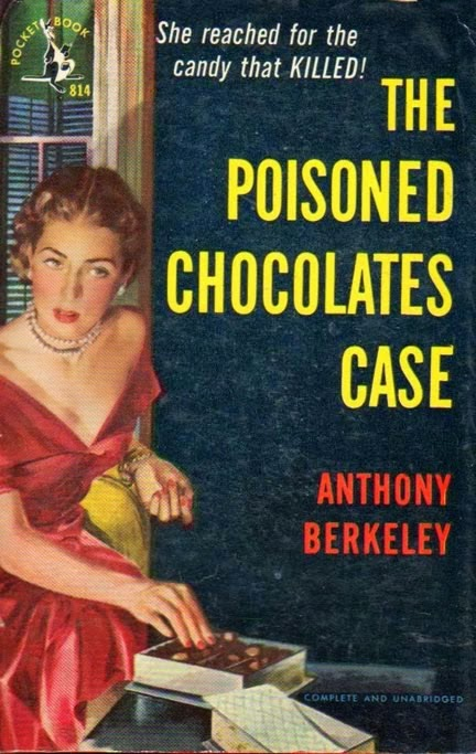 Wonderful pulp cover of The Poisoned Chocolates Case, showing a woman in 1950s evening wear reaching for a chocolate.