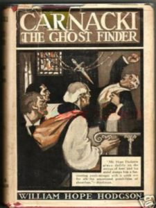 "An old edition of the book ""Carnacki the Ghost Finder"" showing a dagger flying through the air at a man while a priest hurries to his aid."